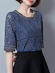 Women's Lace Plus Size Casual/Daily Street chic Summer Blouse,Jacquard Round Neck ½ Length Sleeve Polyester Spandex Thin