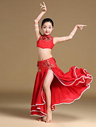 Belly Dance Outfits Children's Performance Chiffon Cascading Ruffle Crystals/Rhinestones Draped Flower(s) Split Front 4 Pieces
