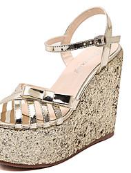Damen-Sandalen-Kleid-PU-Keilabsatz-Andere-Silber Gold