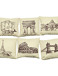 Set of 6 World landmark architecture pattern   Linen Pillow Case Bedroom Euro Pillow Covers 18x18 inches Cushion cover
