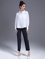 Damen einfarbig Einfach Lässig/Alltäglich Shirt Hose Anzüge,Gekerbtes Revers Riemengurte Sommer Lange Ärmel Polyester