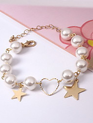 Charm Bracelet Pearl Gold Plated Alloy Fashion Gothic Heart Star Jewelry Gold Jewelry 1pc