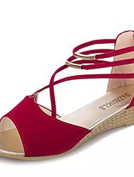 Damen Schuhe PU Sommer Komfort Sandalen Niedriger Absatz Offene Spitze Schnürsenkel Für Normal Schwarz Rose Rosa Blau