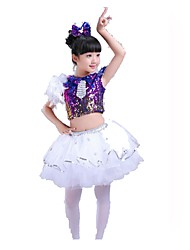 Jazz Outfits Children's Performance Chinlon Organza Sequins Tiers 3 Pieces Short Sleeve Natural Top Skirt Headpieces