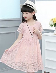 Girl's Beach Solid Floral Dress,Cotton Polyester Summer Spring Short Sleeve