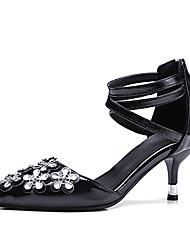 Women's Sandals Spring Summer Fall Comfort PU Wedding Dress Party & Evening Low Heel Rhinestone Applique Black Blushing Pink