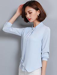 Sign chiffon shirt female long-sleeved shirt 2017 new spring women's Slim thin commuter jacket straight