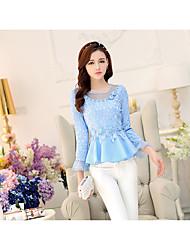 2017 spring new waist was thin chiffon shirt female long-sleeved shirt openwork lace shirt princess shirt
