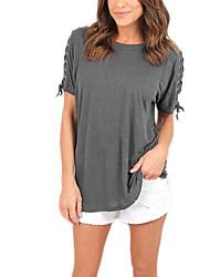 Feminino Camiseta Casual Férias Simples Moda de Rua Outono,Sólido Cinza Poliéster Decote Redondo Manga Curta Média