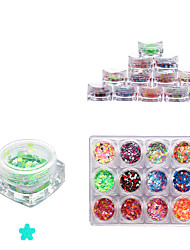 12 Color Full Nail Tips Optional Mixed Size Nail Sequins