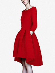 European and American big 2017 spring new Hepburn style ladies temperament was thin irregular big swing dress child