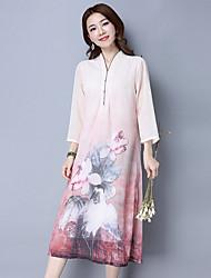 Damen Etuikleid Hülle Spitze Kleid-Ausgehen Lässig/Alltäglich Einfach Street Schick Druck Rundhalsausschnitt Übers Knie ¾-Arm Rosa