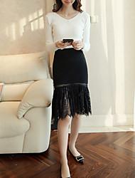 Damen Röcke,Stifte einfarbig Spitze,Lässig/Alltäglich Sexy Mittlere Hüfthöhe Knielänge Reisverschluss Polyester Micro-elastisch
