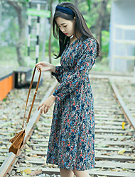 Sign the price of not less than 73 ~ another tone with Belt aesthetic lines Floral Dress