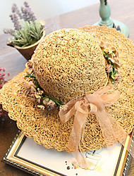 Women's Brim Floppy Handmade Flower Straw Hat Sun Hat Beach Cap Garland Lace Casual Holiday Summer