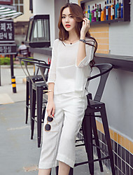 Real shot in Europe and America new Korean ladies fashion loose, casual cotton t-shirt two-piece wide leg pants nine points
