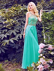 Formal Evening Dress Sheath / Column Halter Floor-length Chiffon with Beading