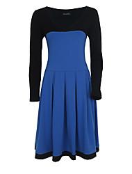 Gaine Robe Femme Soirée / Cocktail Grandes Tailles Vintage,Couleur Pleine V Profond Mi-long Manches Longues Bleu Rouge NoirCoton