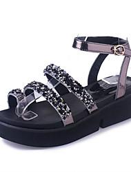Sandals Spring Summer Fall Comfort PU Dress Casual Flat Heel Chunky Heel Rhinestone Black Sliver