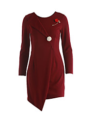Women's Formal / Party Sophisticated Sheath Dress,Solid Round Neck Asymmetrical Long Sleeve Red / Black Cotton / NylonFall /