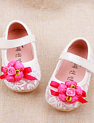 Baby Flats Summer Comfort Leatherette Outdoor Casual Flat Heel Satin Flower Magic Tape Beige Pink Walking