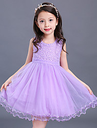 Ball Gown Short / Mini Flower Girl Dress - Satin Tulle Sleeveless Jewel with Embroidery Sash / Ribbon