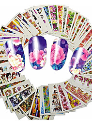 1set 48pcs Mixed Lovely Cartoon& Beautiful Flower Nail Art Sticker Water Transfer Decals Nail Beauty Tips A145-192
