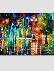 Oil Paintings Modern Landscape Rainy Street Canvas Material With Wooden Stretcher Ready To Hang Size55*85CM.