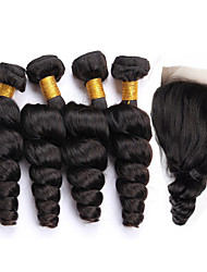 Um Pacote de Solução Cabelo Peruviano Ondulação Larga 12 meses 5 Peças tece cabelo