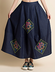 Sign 2017 new Chinese Republic modified skirts embroidered denim half-length skirt retro theatrical