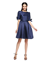 LAN TING BRIDE Knee-length Jewel Bridesmaid Dress - Elegant Short Sleeve Mikado