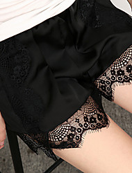 Women's Slim Shorts PantsCasual/Daily Club Sexy Vintage Solid Lace All Match Silk Fabrics Mid Rise Elasticity Stretchy Summer
