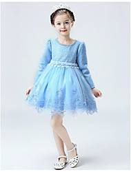 A-Line Knee Length Flower Girl Dress - Lace Long Sleeves Jewel Neck with Lace