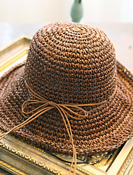 Women's Fashion Brim Floppy Straw Hat Sun Hat Beach Cap Roll-up Hem Casual Holiday Outdoors Summer