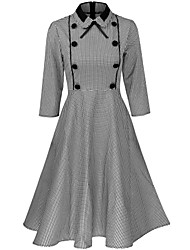 Women's Casual/Daily Work Vintage Street chic Button Bow Swing Sheath DressPlaid Pleated Shirt Collar Above Knee  Sleeve Spring