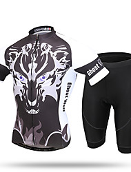 XINTOWN® Men's Short Set New Cycling Jersey Cycling set Short Sleeve Jersey Siut New Bike Bicycle Men's Team Outdoor Night Howler