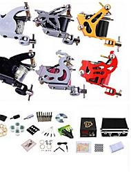 profissional de tatuagem kit kw06b 6 máquinas com fonte de alimentação apertos 40x5ml agulhas de tinta
