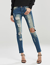 Women's Slim Jeans PantsGoing out / Casual/Daily Simple / Street chic Solid Hole All Match Fashion Mid Rise Button Micro-elastic Spring / Fall