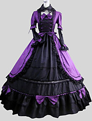 One-Piece/Dress Gothic Lolita Victorian Cosplay Lolita Dress Solid Poet Long Sleeve Long Length Dress Petticoat For Cotton