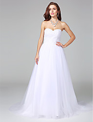 A-line Wedding Dress Simply Sublime Court Train Sweetheart Satin Tulle with Appliques Beading