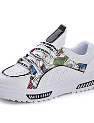 Women's  Sneakers Spring Summer Fall Comfort PU Outdoor Casual Flat Heel Elevator Shoes Lace-up Walking Shoes