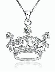 Women's Pendant Necklaces Chain Necklaces AAA Cubic Zirconia Zircon Copper Silver Plated CrownUnique Design Dangling Style Rhinestone