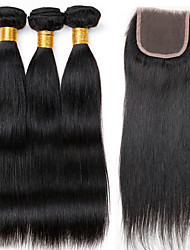 Vinsteen 7A Brazilian Straight Hair Weaves with Lace Closure Bundle 100% Human Hair Weave Unprocessed Hair Wefts Natural Color Can Be Dyed