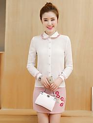 modelo real tiro 2017 Primavera blusa nova costura camisa de chiffon pacote fino terno de saia peça saia