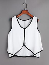 Damen Solide Einfach Ausgehen T-shirt,V-Ausschnitt Frühling Sommer Ärmellos Andere