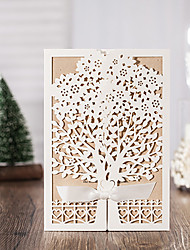 50pcs/lot White Vintage Laser Cut Luxury Flora Wedding Invitations Card with Ribbon Envelopes Seals Favor Wedding Event & Party Supplies CW6176