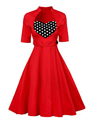 Formal Party Vintage A Line Chiffon Swing Dress,Polka Dot Color Block Pleated Sweetheart Midi Sleeveless Cotton Rayon Red Black