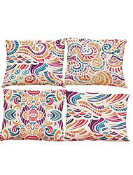 Set of 4 Creative  floral  pattern Linen Pillowcase Sofa Home Decor Cushion Cover