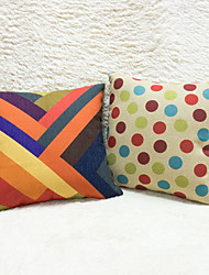 1 pcs Cotton/Linen Pillow Case,Striped Geometric Accent/Decorative Outdoor Modern/Contemporary Country Casual