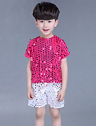 Jazz Outfits For Boys Kid's For Girls Children's Performance Polyester Sequins 2 Pieces Short Sleeve Natural Top Shorts
